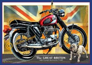 Image of 1969_Triumph_Bonneville_T120R_motorcycle_poster_print