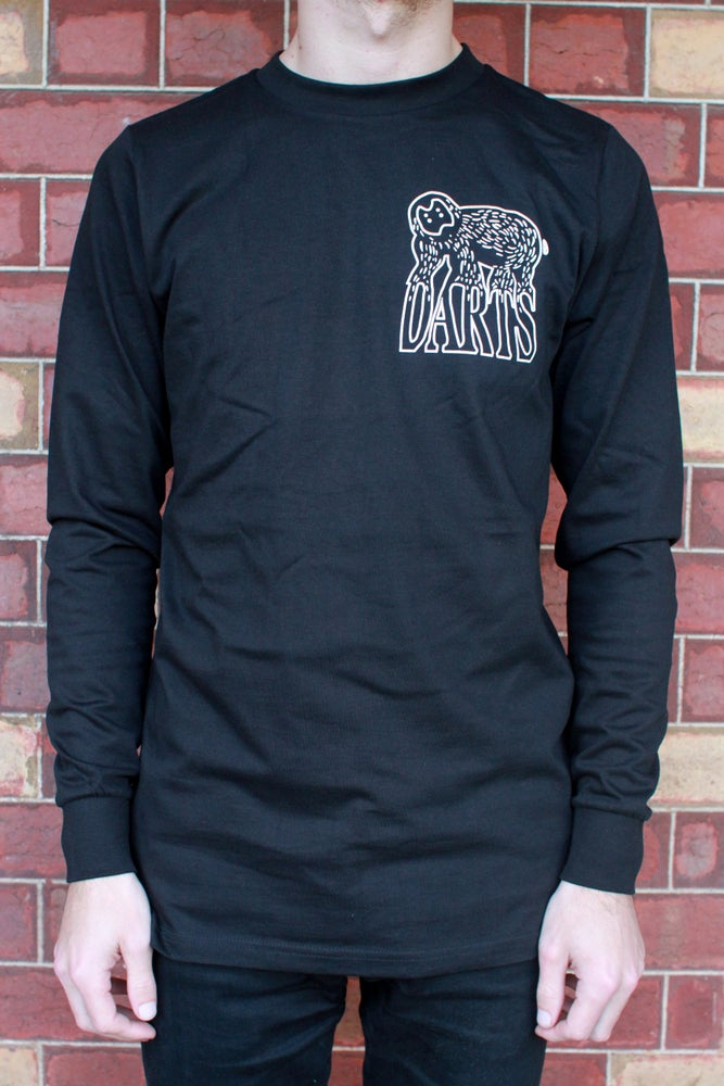 Image of Black Long Sleeve Darts Tee