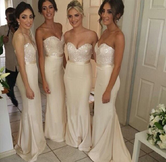 Image of Ivory Satin Sweetheart Sheath Bridesmaid Gown With Sequined Bodice