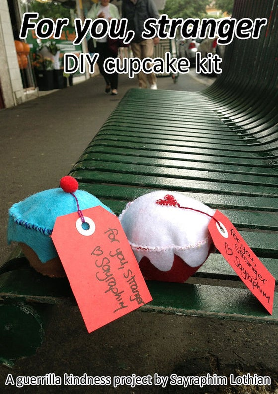 Image of Guerrilla Kindness cupcake kit - share a little Guerrilla Kindness with someone who needs it!
