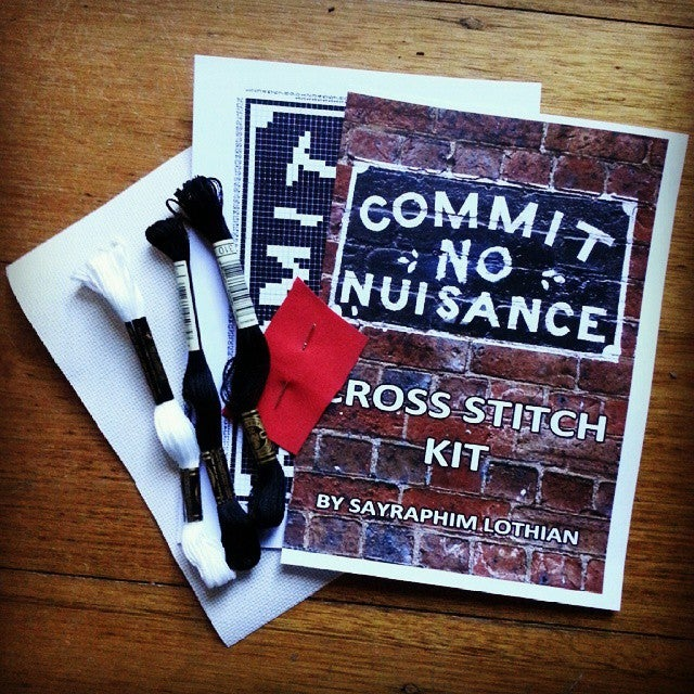 Image of 'Commit No Nuisance' Melbourne street sign cross stitch kit - Limited Edition
