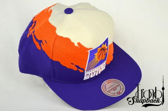 Image of PHOENIX SUNS CREAM/ORANGE/PURPLR MITCHELL & NESS SPLASH SNAPBACK CAP
