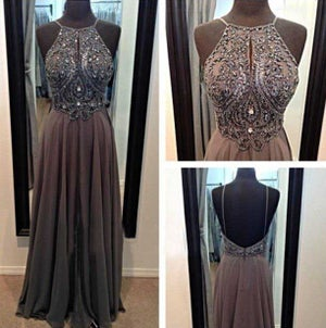Image of Fashion Chiffon Halter Beaded Bodice Prom Gown With Open Back