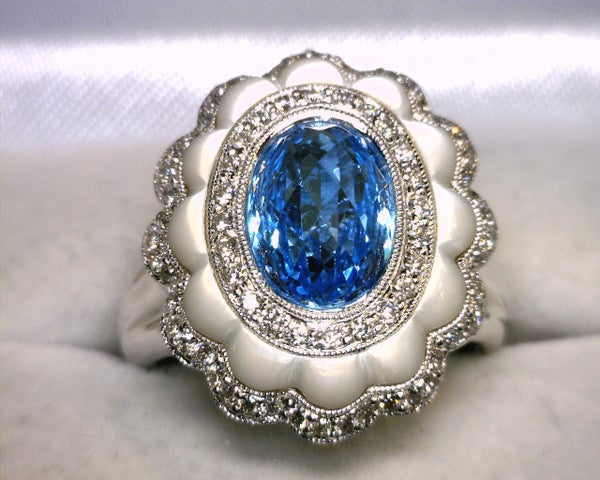 Image of 18K White Gold Blue Topaz / Diamond Ring