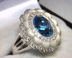 Image of 18K White Gold Blue Topaz / Diamond Ring
