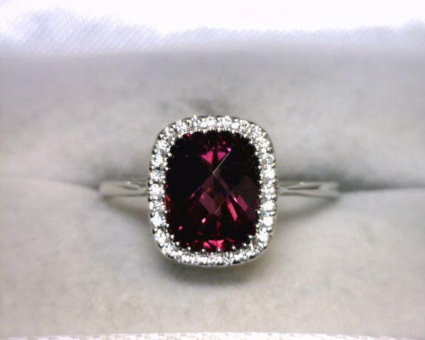 Image of 18K White Gold Rhodolite Garnet / Diamond Ring