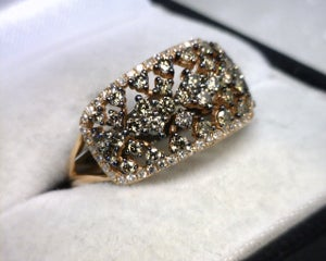 Image of 14K Rose Gold Brown / White Diamond Ring