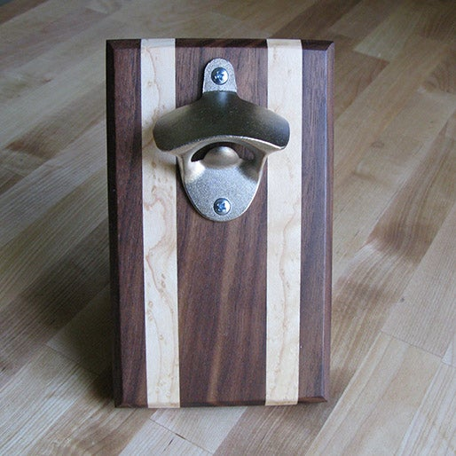 Image of Walnut and birdseye maple magnetic bottle opener