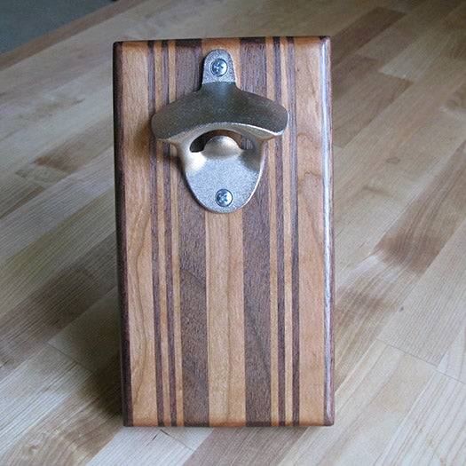 Image of Walnut and cherry magnetic bottle opener