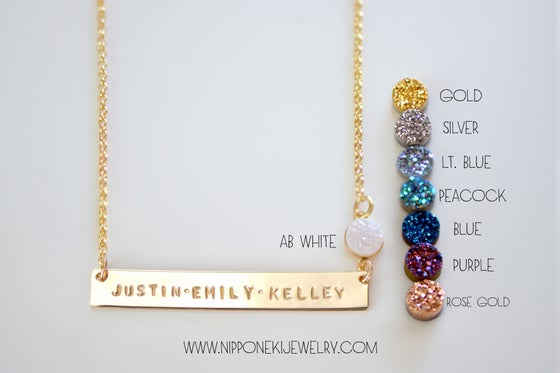 Image of Personalized Long Bar Necklace with Druzy - Gold or Silver Long Bar Necklace