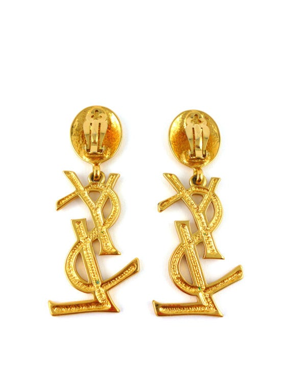 Image of SOLD FEATURED ITEM AUTHENTIC HUGE Yves Saint Laurent Vintage YSL Logo Earrings -Sex and The City