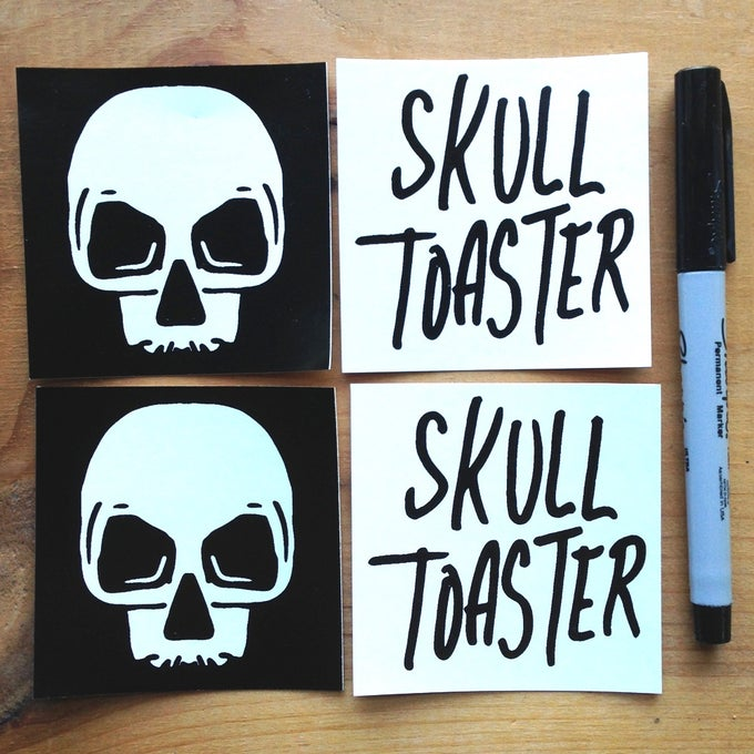 Image of Skull Toaster Logo Stickers - Four Pack
