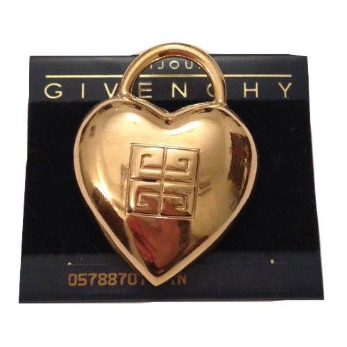 Image of SOLD OUT Givenchy Paris Heart Logo Brooch Pin- Vintage New On Card