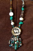 Image of Antique brooch from Brussels, with turquoise, and magnicite set