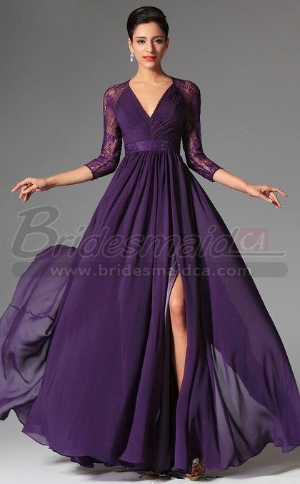 canada bridesmaid wear � lace purple bridesmaid dress with