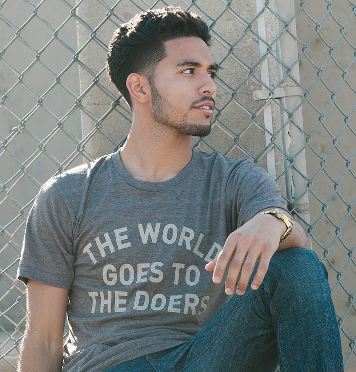 Image of The World Goes To The Doers Tee (Tri-Coffee)