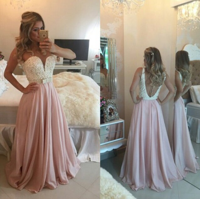 Image of Pink Chiffon Beaded Sweetheart Long Prom Dress With Open Back