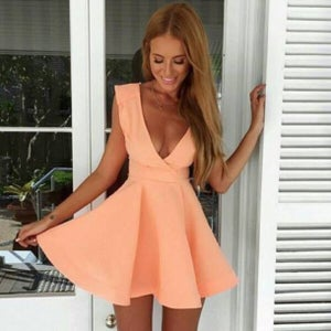 Image of CUTE DEEP V ORANGE DRESS