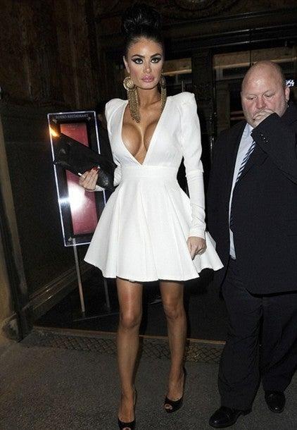 Image of SEXY DEEP LONG SLEEVE CUTE DRESS