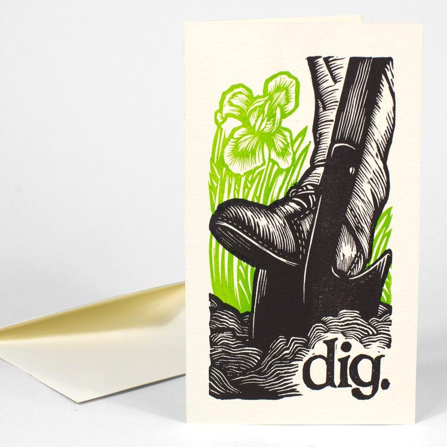 Image of dig. a 5x7 linocut letterpress card.