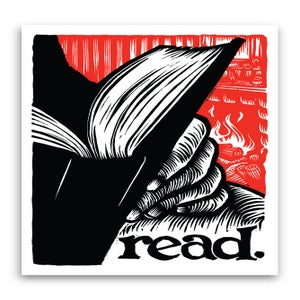 Image of read.  3.25x4.75 vinyl sticker