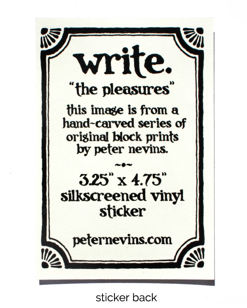 Image of write.  3.25x4.75 vinyl sticker