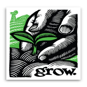 Image of grow.  3.25x4.75 vinyl sticker