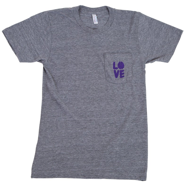 Image of Love Your Brain T-Shirt: Adult, Heather Gray Pocket T with Purple Logo