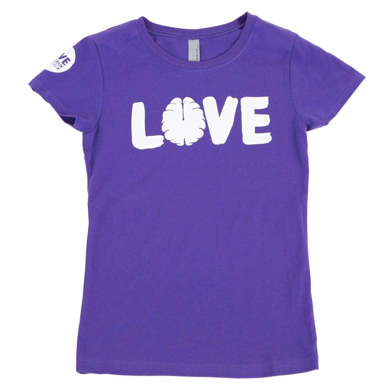 Image of Love Your Brain T-Shirt: Girls Purple Rush