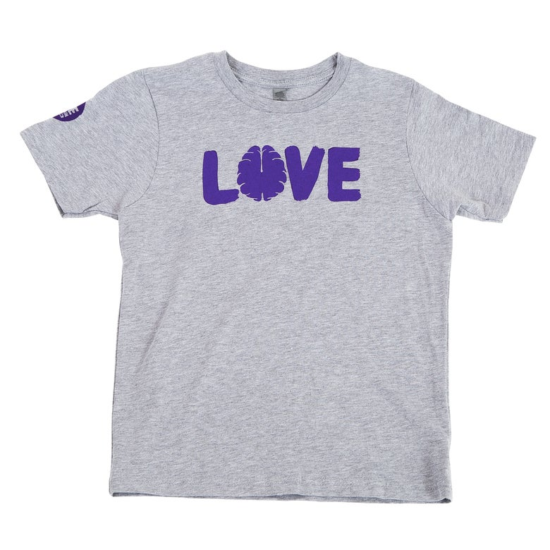 Image of Love Your Brain T-Shirt: Boys Grey with Purple Logo