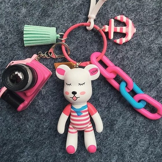 Image of Pink Bear Keychain with Adorable Mix Charms