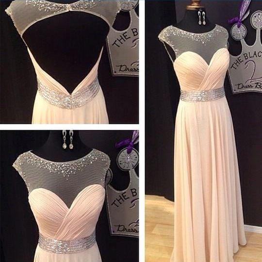Image of 2015 Chiffon Illusion Neckline Prom Dress With Keyhole Back