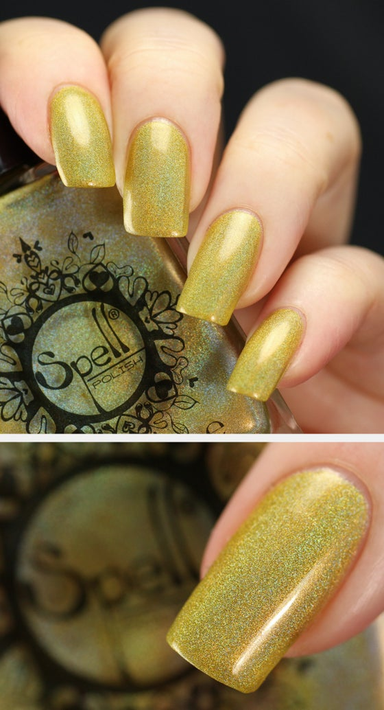 """Image of ~Dropping Daisies~ mustard yellow linear holo nail polish """"Charlie Loves Bella"""" Spell Polish!"""