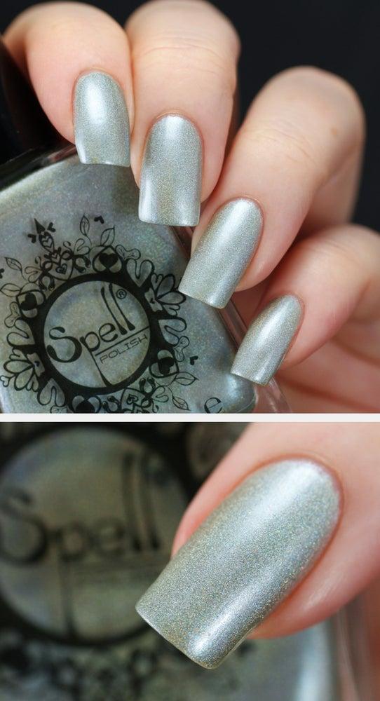 "Image of ~Radiant Rabbit~ antique aqua holo nail polish ""Charlie Loves Bella"" Spell Polish!"