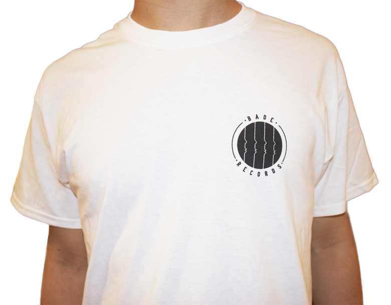 Image of White T-Shirt with Bade Records Logo