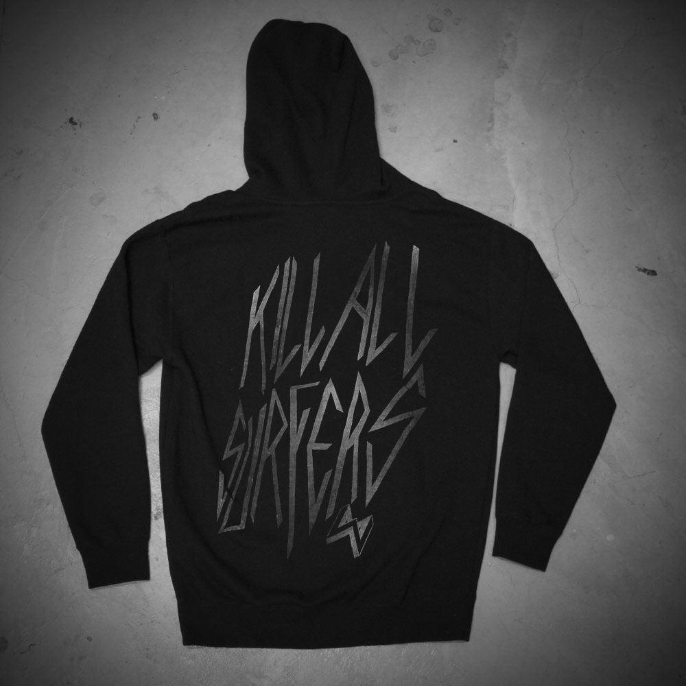 Image of KILL ALL SURFERS_BLACK_HOODIE