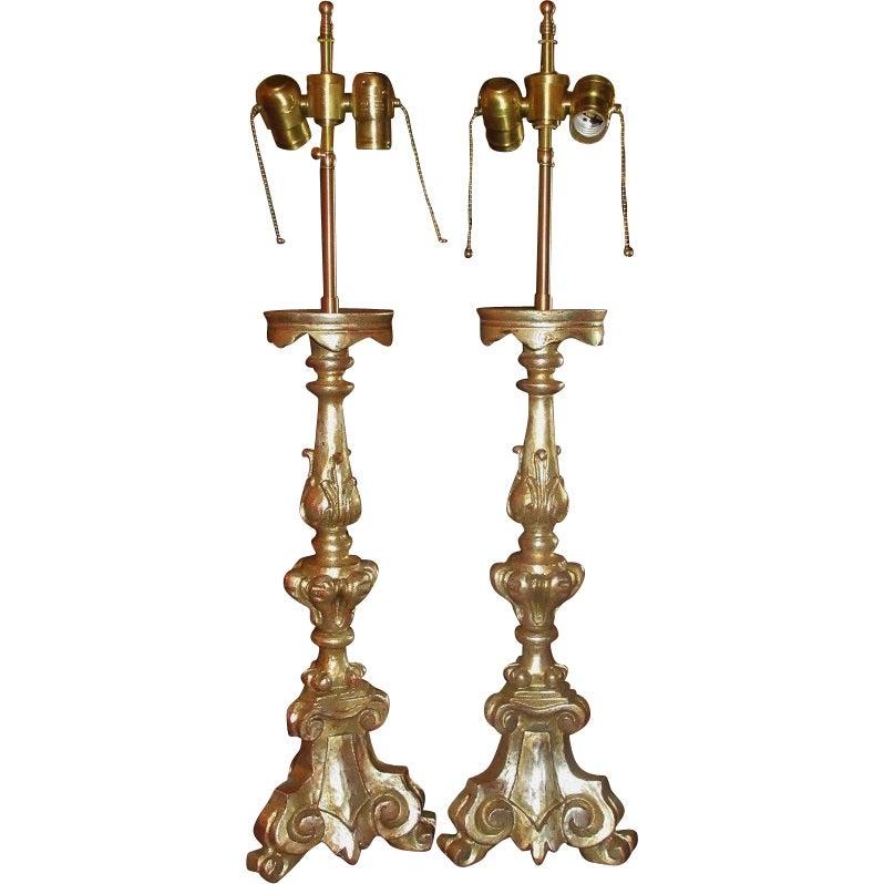 Image of Pair of Thomas Morgan Designer White Gold Gilt-wood Altar Candlestick Lamps