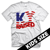 Image of KY Raised Kids USA FLAG tee in White, Red & Blue