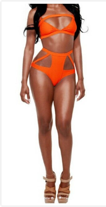 Sand For Sale >> Orange Cutout High-Waisted Swimsuit / Hips&Heels Boutique