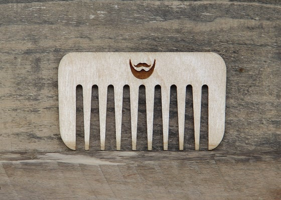 Image of Personalized Handmade Wood Beard Comb - Baltic Birch Plywood