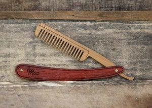 Image of Personalized Wood Straight Razor Beard Comb - Handmade from Walnut or Padauk Hardwood