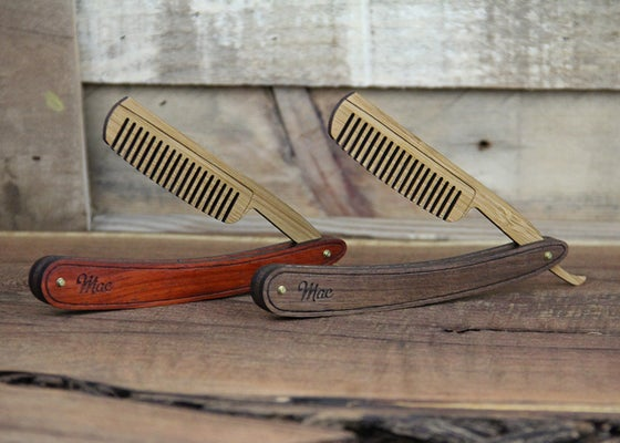Image of Personalized Handmade Folding Wood Straight Razor Beard Comb