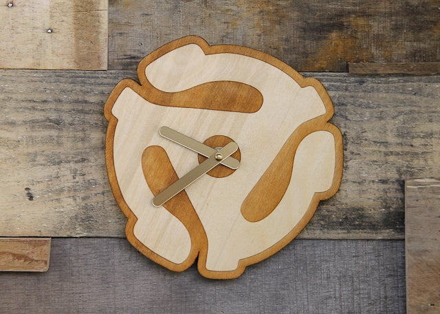 Image of Handmade Wood Vinyl Record, Speaker, 45 RPM Adapter Clock - Baltic Birch