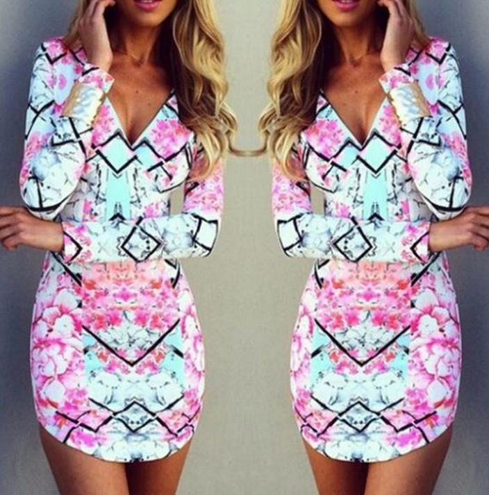 Image of Hot long sleeve colorful dress