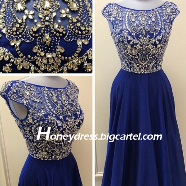 Image of 2015 Blue Chiffon Evening Dress With Beading Hot Sale
