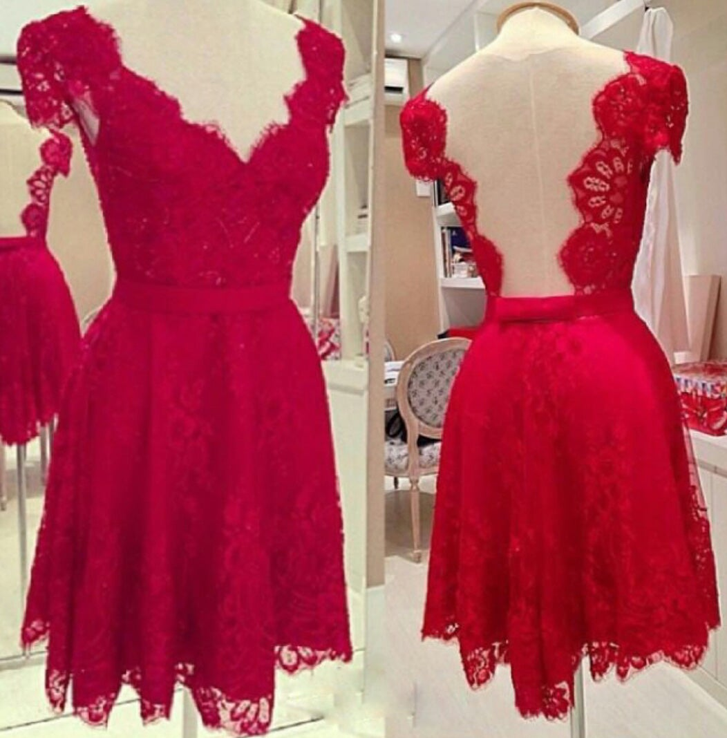 Honey Dress — Hot Sale Red Lace Cap Sleeves Cocktail Dress With ...