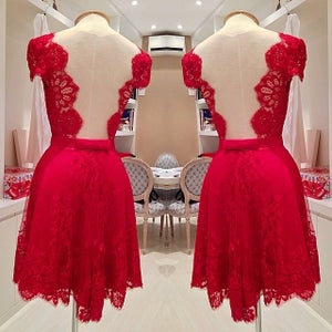 Image of Hot Sale Red Lace Cap Sleeves Cocktail Dress With Open Back