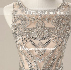 Image of 2015 Nude Chiffon Beaded Evening Dress With Crystals