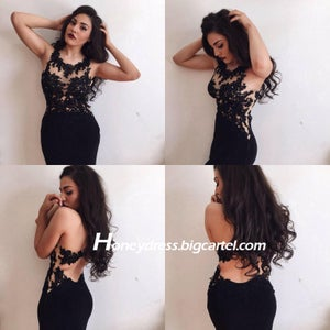 Image of 2015 Black Chiffon Lace Appliques Mermaid Evening Dress With Open Back