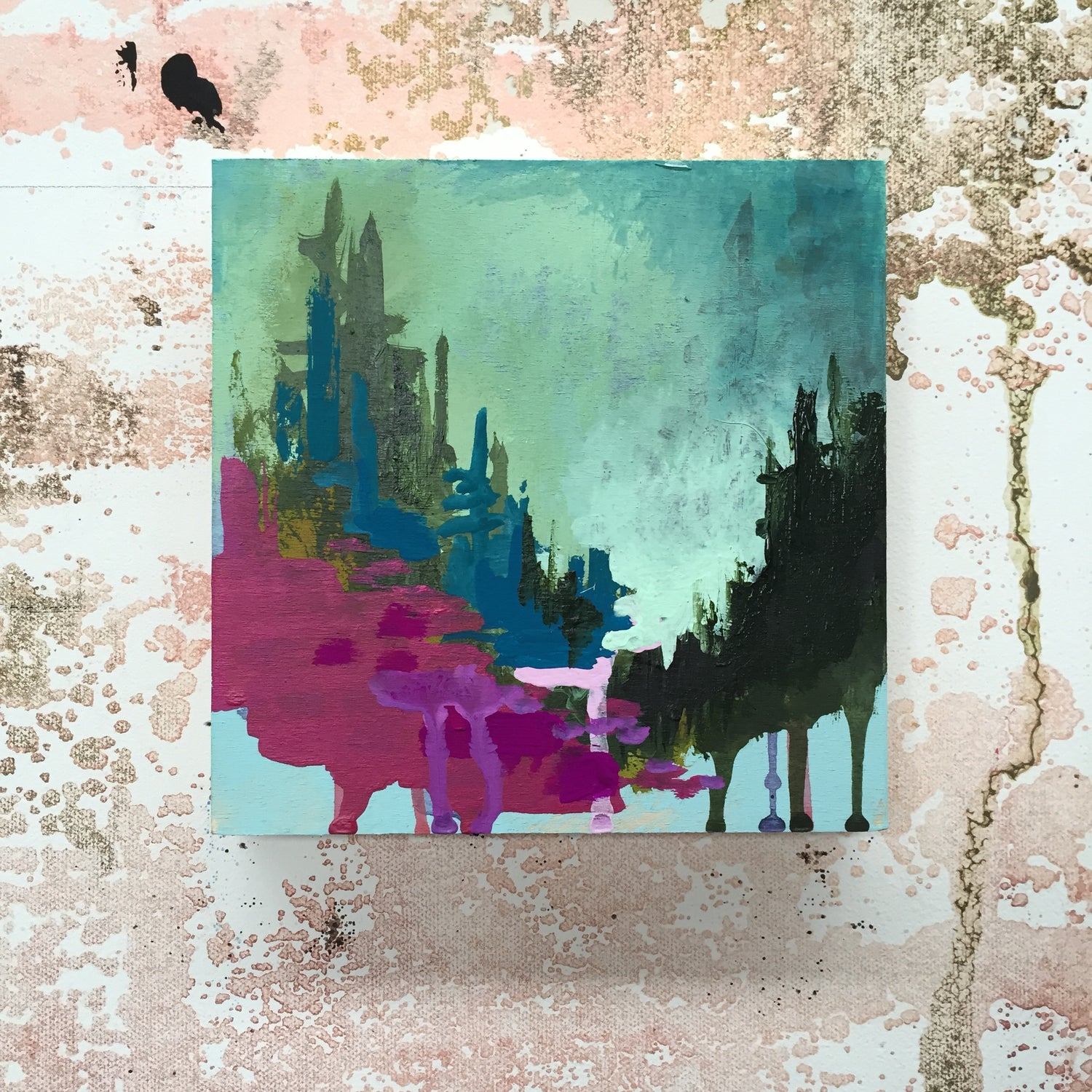 Image of Tiny Painting No. 7 (violet, mint, sap green)